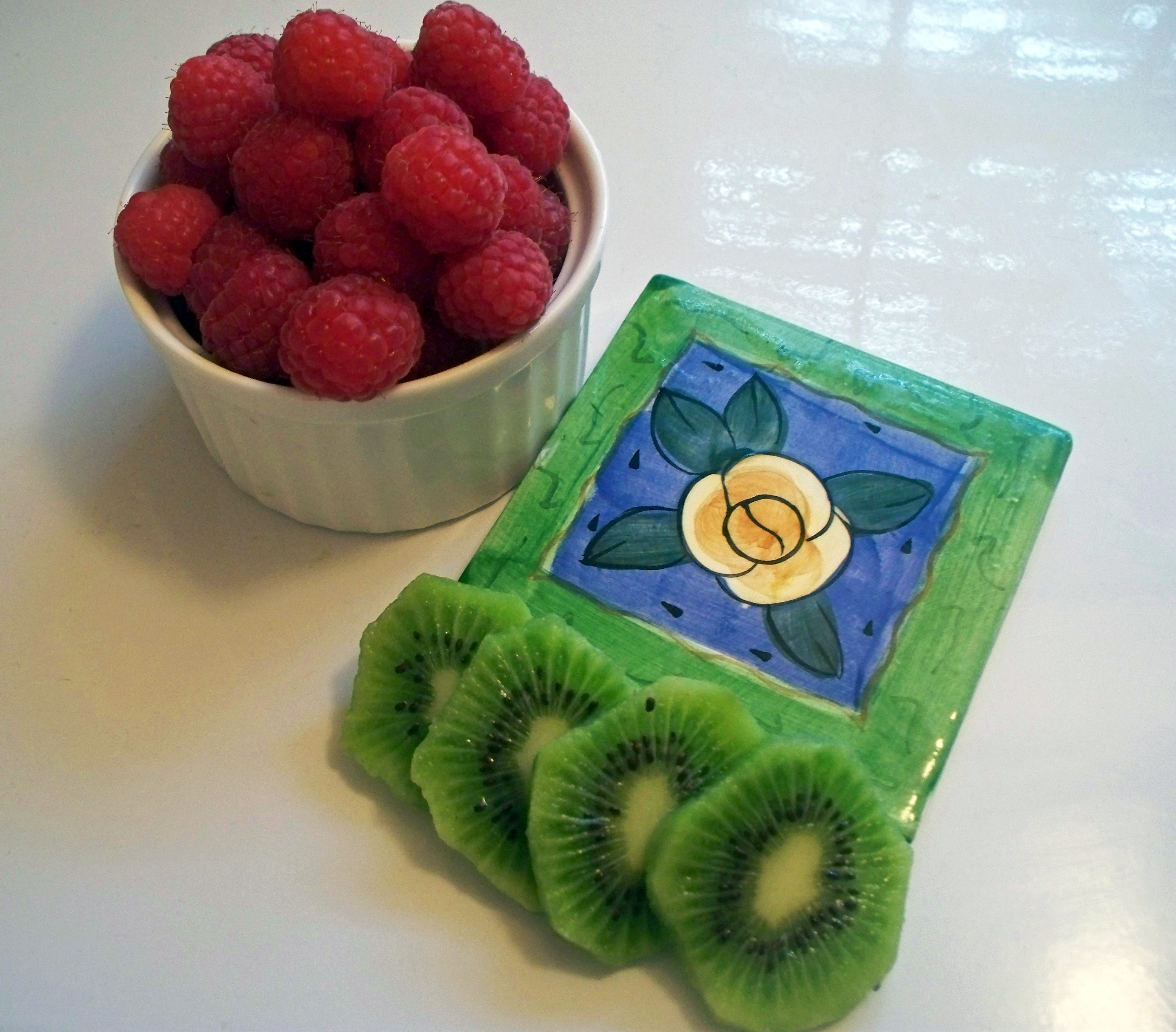 raspberries and kiwis